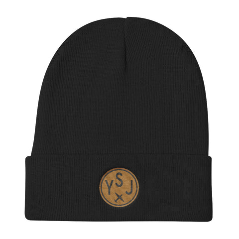 YHM Designs - YSJ Saint John Vintage Roundel Airport Code Winter Hat - Black - Aviation Gift - Christmas Gift