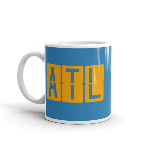 YHM Designs - ATL Atlanta Airport Code Split-Flap Display Coffee Mug - Birthday Gift, Christmas Gift - Orange and Blue - Left