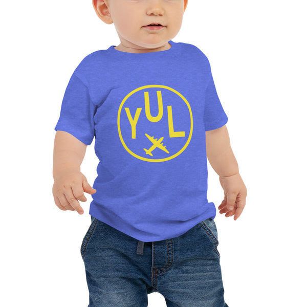 YHM Designs - YUL Montreal T-Shirt - Airport Code and Vintage Roundel Design - Baby - Blue - Gift for Grandchild or Grandchildren