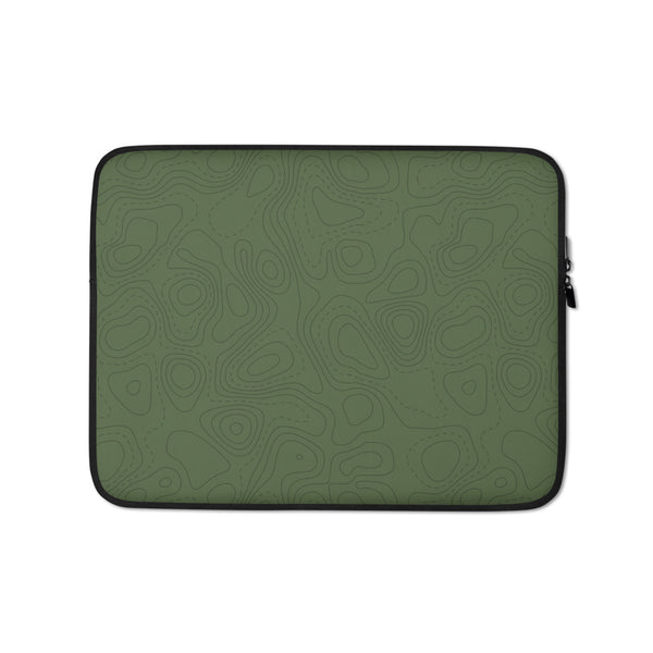 YHM Designs - Contour Map Laptop Sleeve • Mid-Green 1
