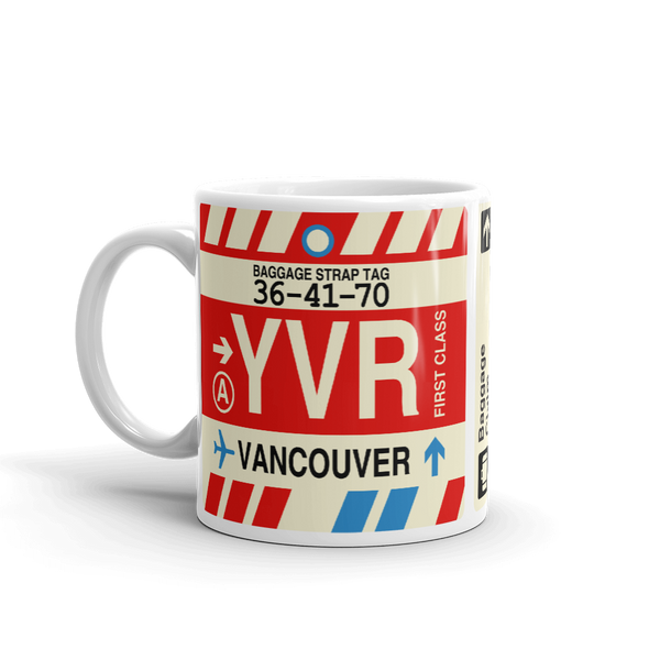 YHM Designs - YVR Vancouver Airport Code Coffee Mug - Birthday Gift, Christmas Gift - Left