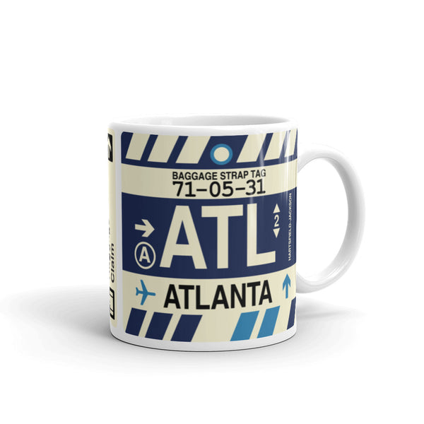 YHM Designs - ATL Atlanta, Georgia Airport Code Coffee Mug - Graduation Gift, Housewarming Gift - Right