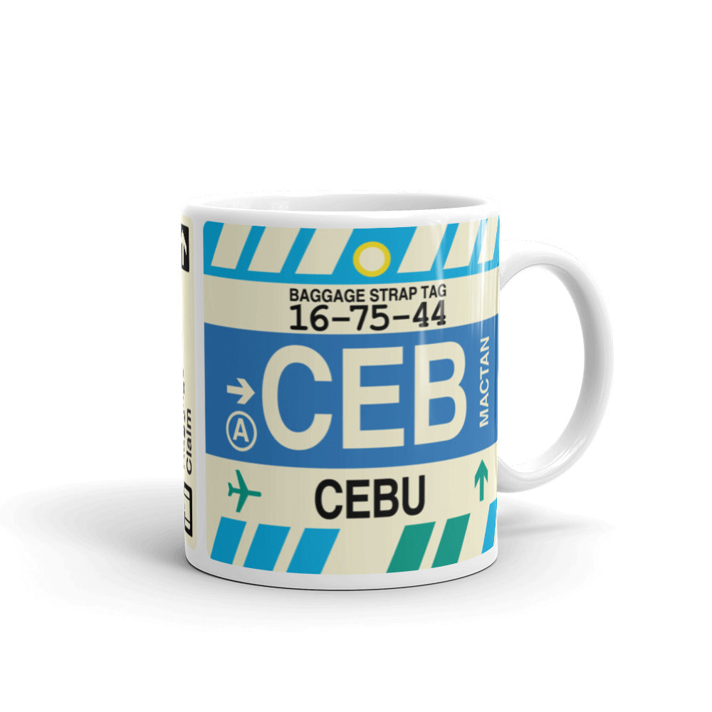 YHM Designs - CEB Cebu, Philippines Airport Code Coffee Mug - Graduation Gift, Housewarming Gift - Right