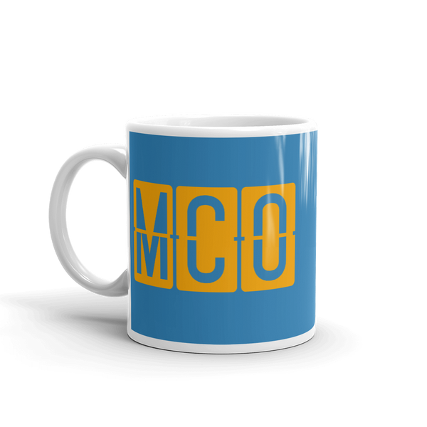 YHM Designs - MCO Orlando Airport Code Split-Flap Display Coffee Mug - Birthday Gift, Christmas Gift - Orange and Blue - Left
