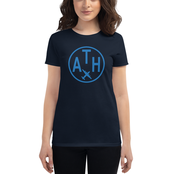 YHM Designs - ATH Athens Airport Code T-Shirt - Women's - Gift for Girlfriend