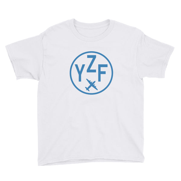YHM Designs - YZF Yellowknife T-Shirt - Airport Code and Vintage Roundel Design - Child Youth - White - Gift for Grandchild
