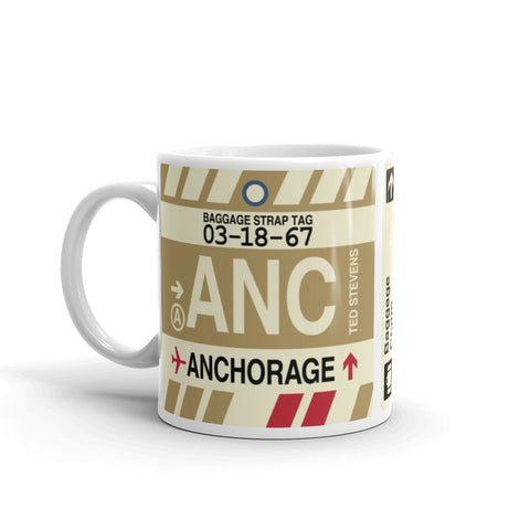 YHM Designs - ANC Anchorage, Alaska Airport Code Coffee Mug - Birthday Gift, Christmas Gift - Left