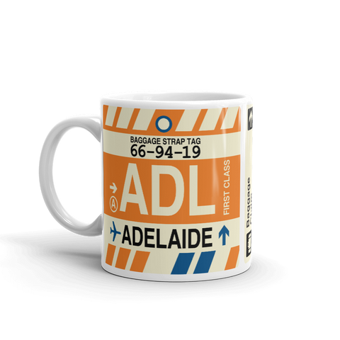 YHM Designs - ADL Adelaide Airport Code Coffee Mug - Graduation Gift, Housewarming Gift - Right