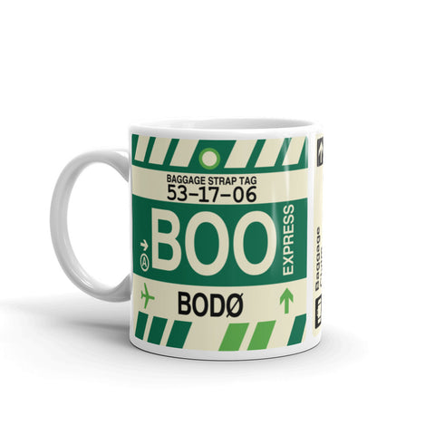 YHM Designs - BOO Bodo, Norway Airport Code Coffee Mug - Birthday Gift, Christmas Gift - Left