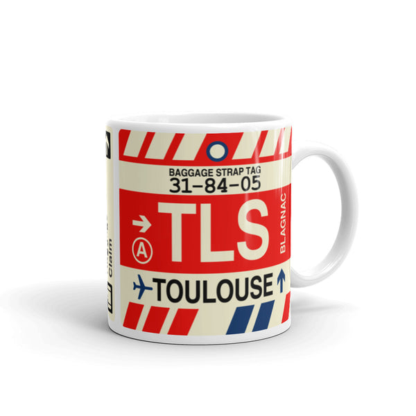 YHM Designs - TLS Toulouse Airport Code Coffee Mug - Travel Theme Drinkware and Gift Ideas - Right