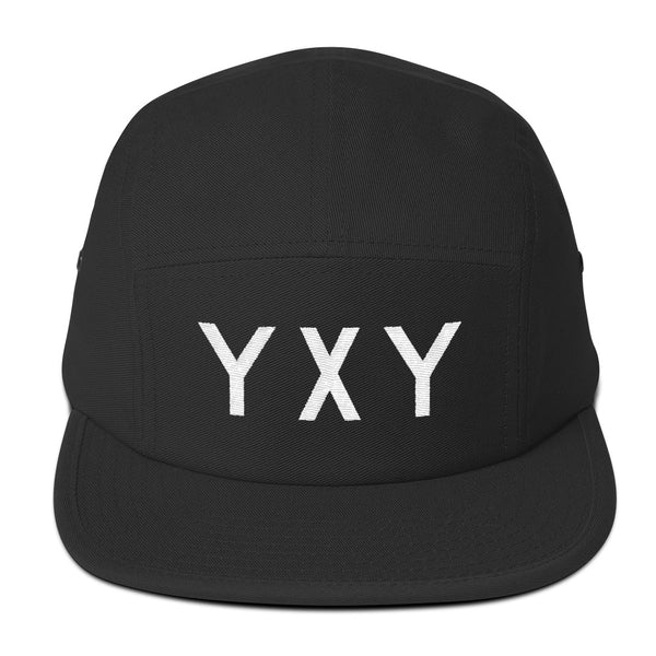 YHM Designs - YXY Whitehorse Airport Code Camper Hat - Black - Front - Student Gift
