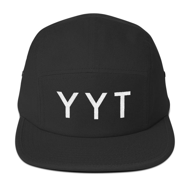 YHM Designs - YYT St. John's Airport Code Camper Hat - Black - Front - Student Gift