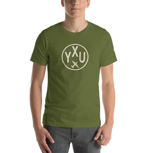 YHM Designs - YXU London Airport Code T-Shirt - Adult - Olive Green - Birthday Gift