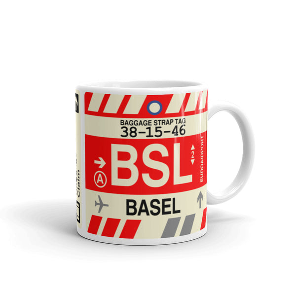YHM Designs - BSL Basel Airport Code Coffee Mug - Graduation Gift, Housewarming Gift - Right
