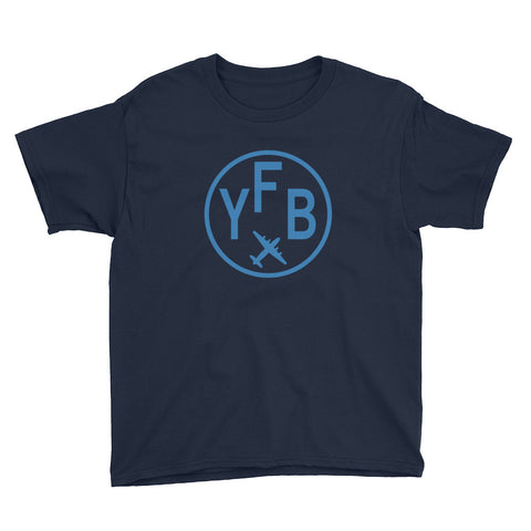 YHM Designs - YFB Iqaluit T-Shirt - Airport Code and Vintage Roundel Design - Youth - Navy Blue - Gift for Child or Children