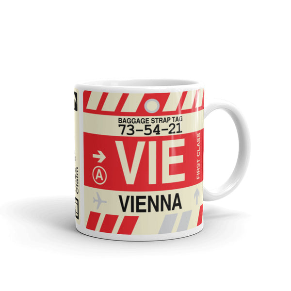 YHM Designs - VIE Vienna Airport Code Coffee Mug - Travel Theme Drinkware and Gift Ideas - Right