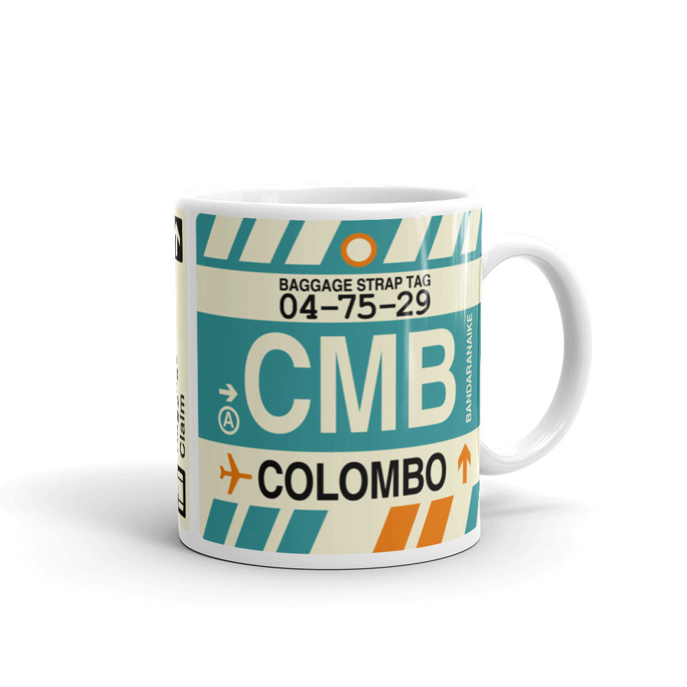 YHM Designs - CMB Colombo, Sri Lanka Airport Code Coffee Mug - Graduation Gift, Housewarming Gift - Right