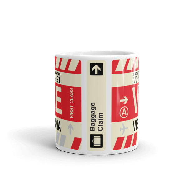 YHM Designs - VIE Vienna Airport Code Coffee Mug - Travel Theme Drinkware and Gift Ideas - Side