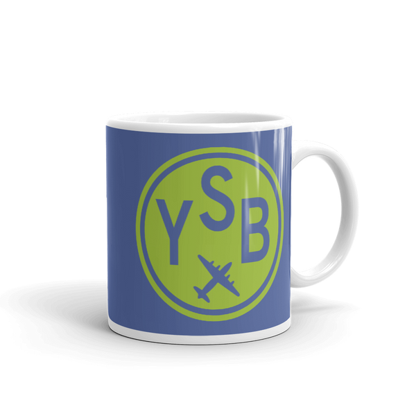 YHM Designs - YSB Sudbury Airport Code Vintage Roundel Coffee Mug - Graduation Gift, Housewarming Gift - Green and Blue - Right