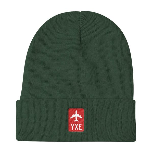 YHM Designs - YXE Saskatoon Retro Jetliner Airport Code Winter Hat - Dark Green - Birthday Gift