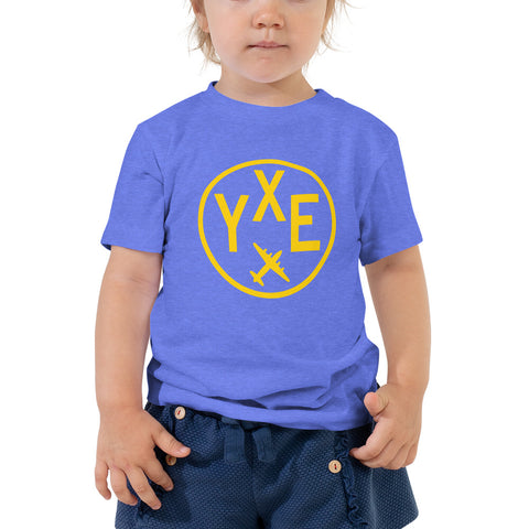 YHM Designs - YXE Saskatoon T-Shirt - Airport Code and Vintage Roundel Design - Toddler - Blue - Gift for Child or Children