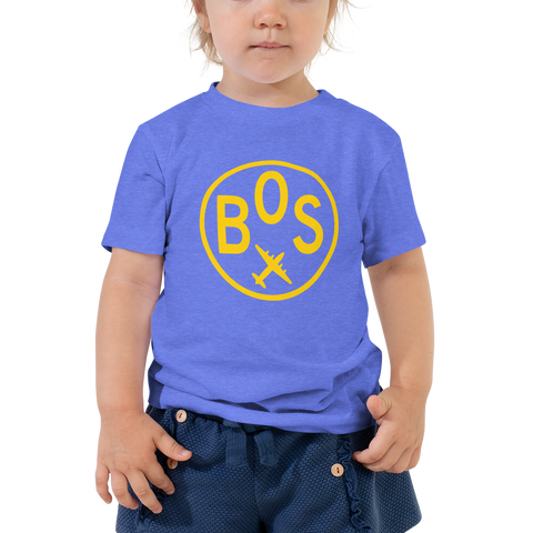 YHM Designs - BOS Boston Airport Code T-Shirt - Toddler Child - Boy's or Girl's Gift