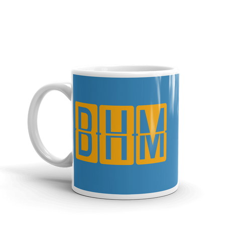 YHM Designs - BHM Birmingham Airport Code Split-Flap Display Coffee Mug - Birthday Gift, Christmas Gift - Orange and Blue - Left