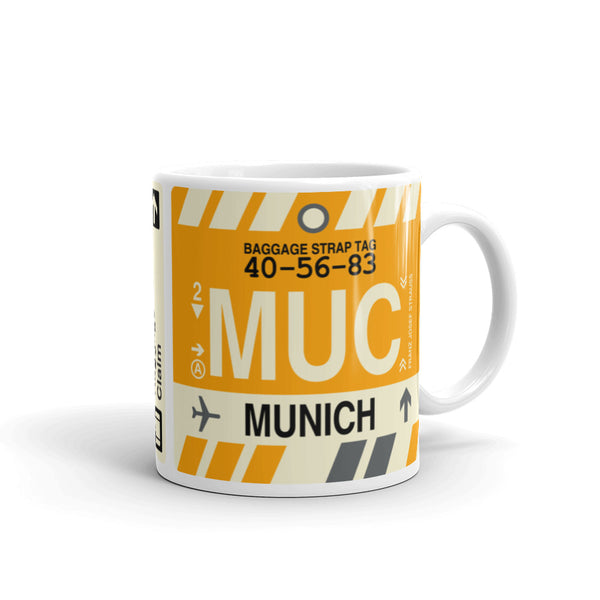 YHM Designs - MUC Munich, Germany Airport Code Coffee Mug - Graduation Gift, Housewarming Gift - Right