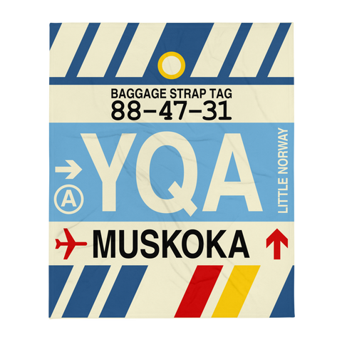 YHM Designs - YQA Muskoka Airport Code Throw Blanket with Vintage Baggage Tag Design - Image 1