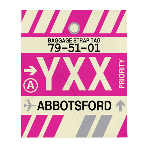YHM Designs - YXX Abbotsford Airport Code Throw Blanket with Vintage Baggage Tag Design - Image 1