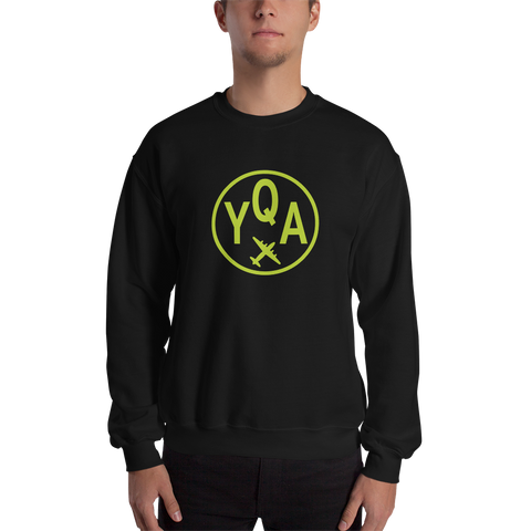 YQA Muskoka Sweatshirt • Airport Code & Vintage Roundel Design • Lime Green Graphic