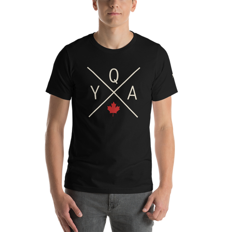 YHM Designs - YQA Muskoka Airport Code Adult Unisex T-Shirt - Crossed-X Design with Red Maple Leaf - Black 01