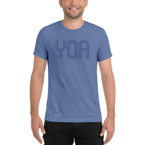 YHM Designs - YQA Muskoka Airport Code Soft Lightweight T-Shirt - Cool Retro Lettering - Blue - Blue 01