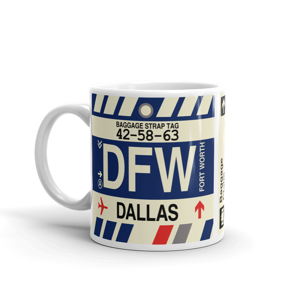 YHM Designs - DFW Dallas-Fort Worth Airport Code Coffee Mug - Travel Theme Drinkware and Gift Ideas - Left