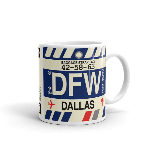 YHM Designs - DFW Dallas-Fort Worth Airport Code Coffee Mug - Travel Theme Drinkware and Gift Ideas - Right