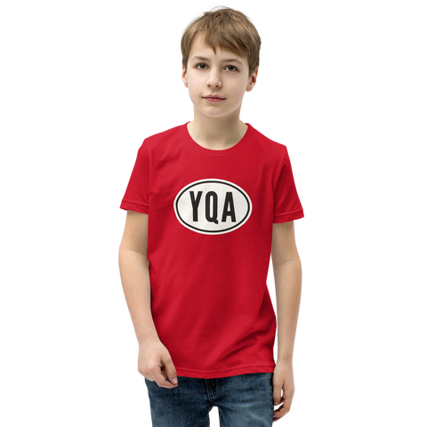 YHM Designs - YQA Muskoka Kid's T-Shirt - Airport Code with Oval Car Bumper Sticker Design - Child Youth - Red 1