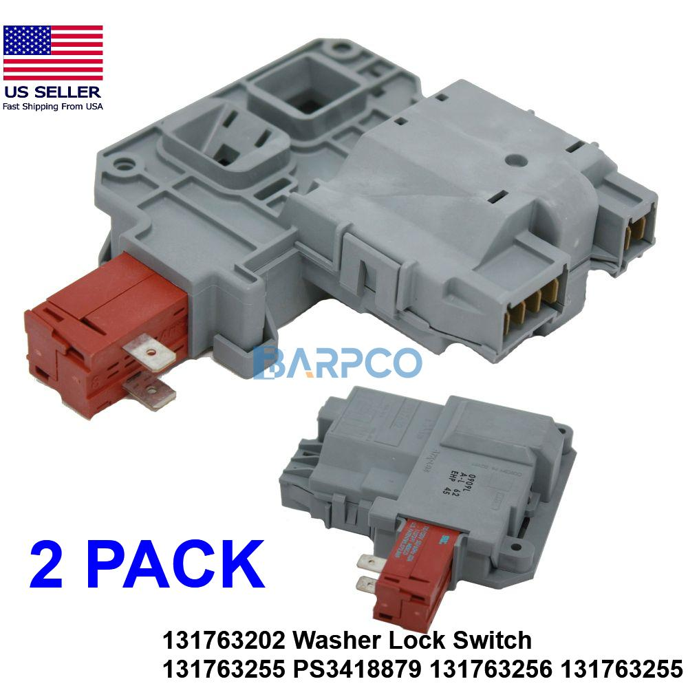 2 PACK 131763202 Washer Lock Switch 131763255 PS3418879 131763256 131763255