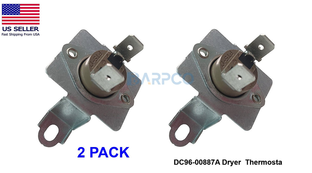 2 PACK DC96-00887A Dryer Thermal Fuse Thermostat for Samsung Whirlpool