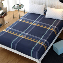 Load image into Gallery viewer, Queen Fitted Sheet Plaid Bed Sheet Microfiber Fabric Polyester Mattress Cover Bed Sheet with Elastic Fitted Bed Sheet King Size