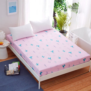 Queen Fitted Sheet Plaid Bed Sheet Microfiber Fabric Polyester Mattress Cover Bed Sheet with Elastic Fitted Bed Sheet King Size