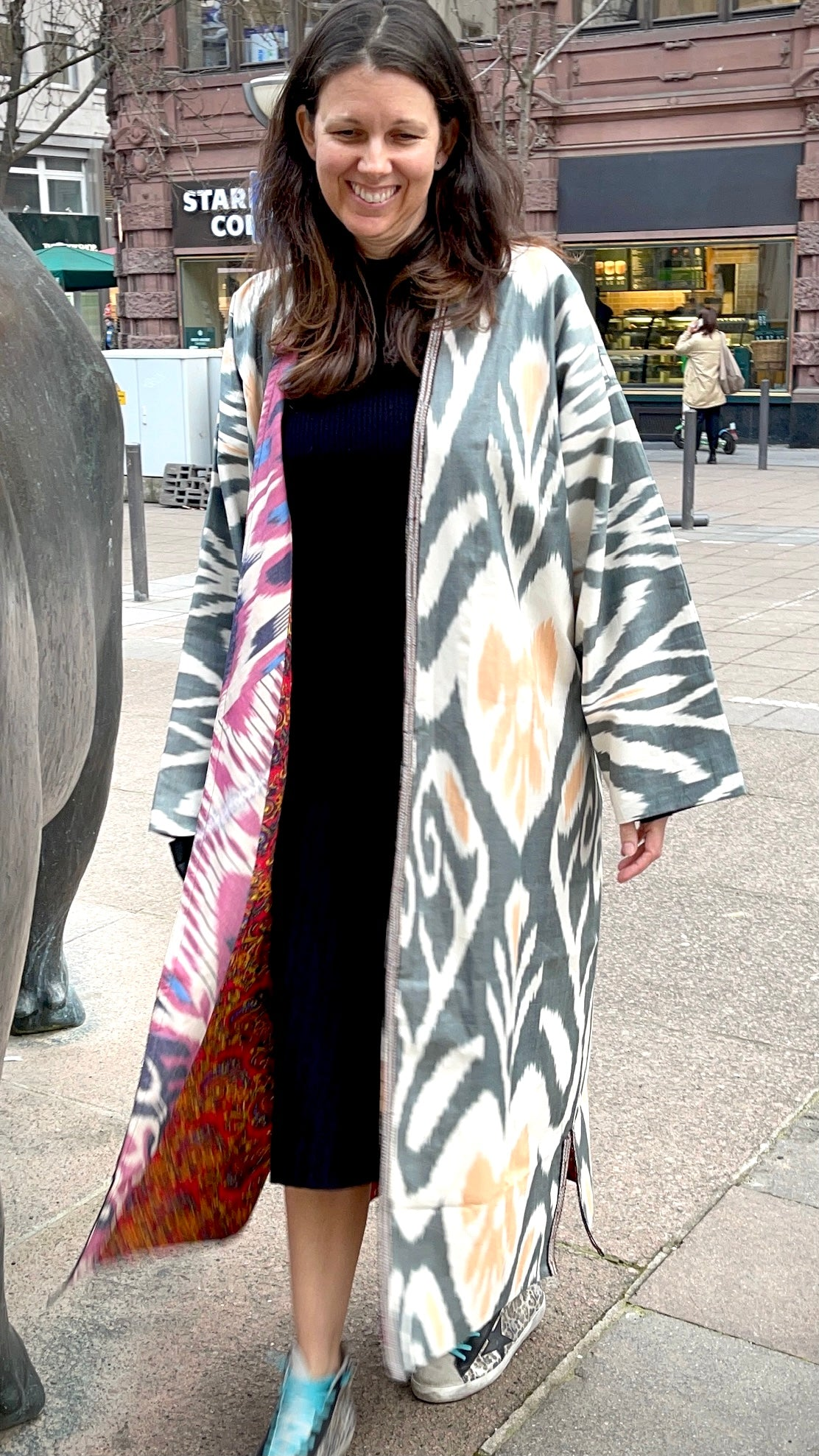 YAKRIS coat, Golden Khan 'Ikat