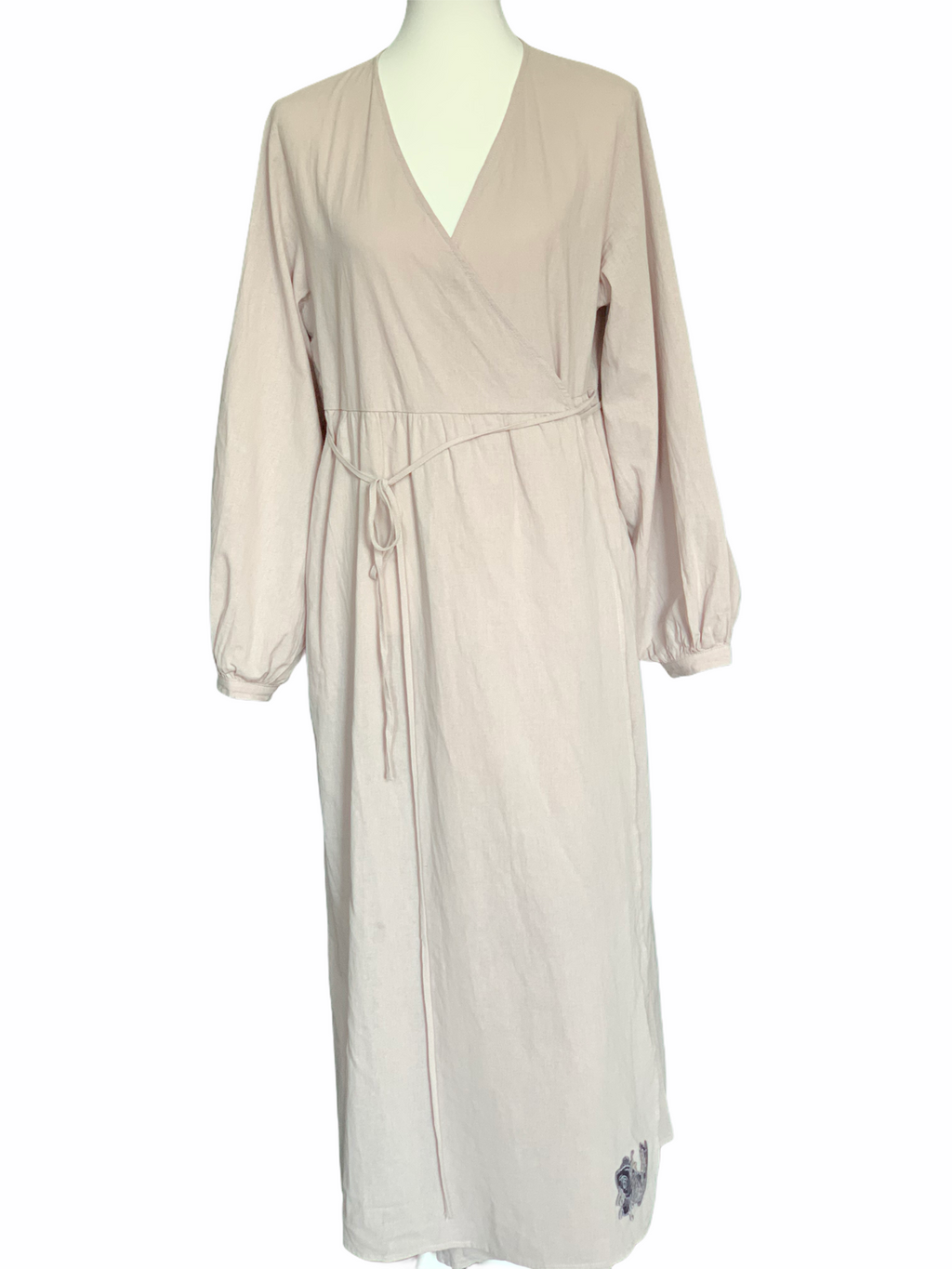 YAKRIS dress 'Season Between' made of cotton in a slightly creased look, gray-beige