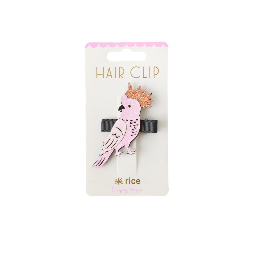 Rice hair clip with cockatoo