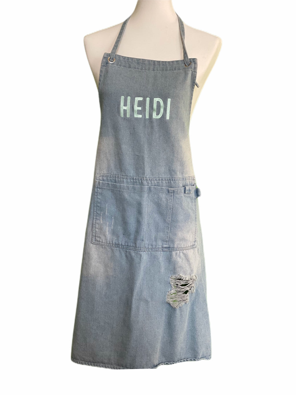 Heidi and Paul cooking apron made of washed denim
