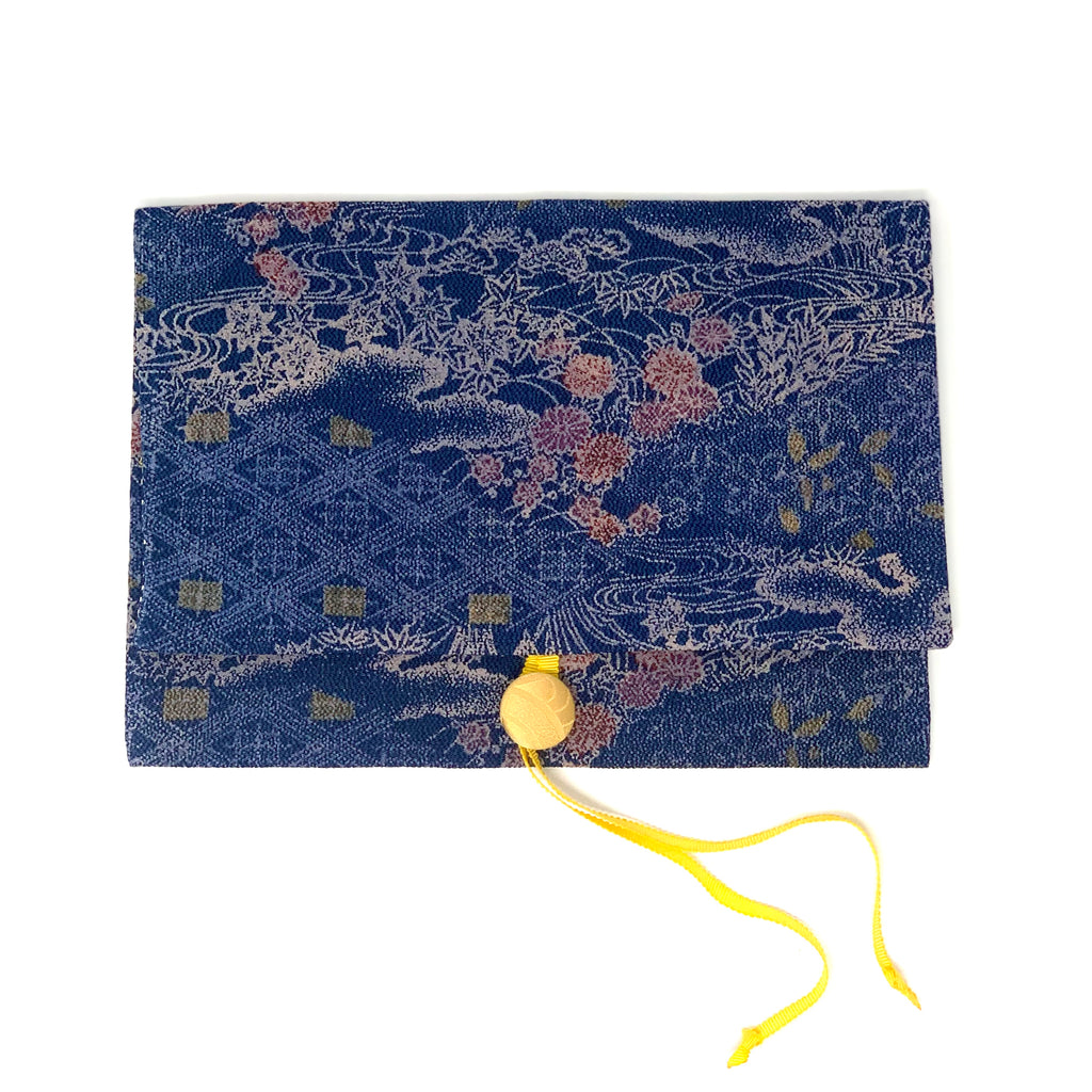 YAKRIS 'Passport Japan' handbag passportholder made of kimono silk, blue