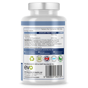 Magnesium Citrate 700mg, providing 200mg elemental Magnesium