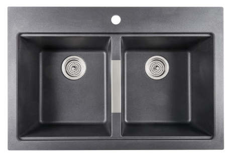 Twin Bowl Granite Kitchen Sink - Black
