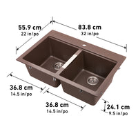 Twin Bowl Granite Kitchen Sink - Brown