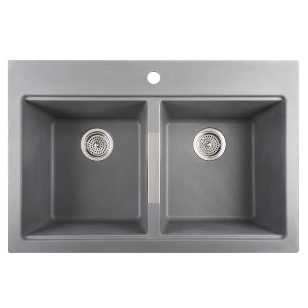 Kitchen Twin Bowl Granite Sink - Grey