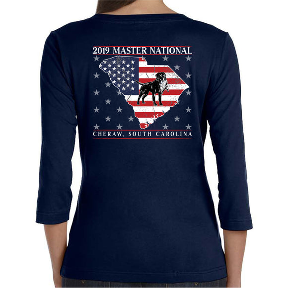 Master National 2019 - Ladies 3/4 Sleeve V-neck American Pride
